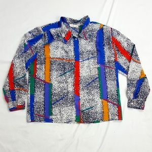 Colorpop/static print 80s vintage blouse